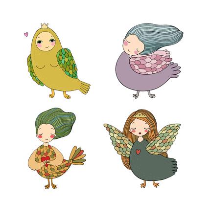 Girl Sirin. Mythological bird. Russian folklore. Isolated objects on white background. Vector illustration. Illustration