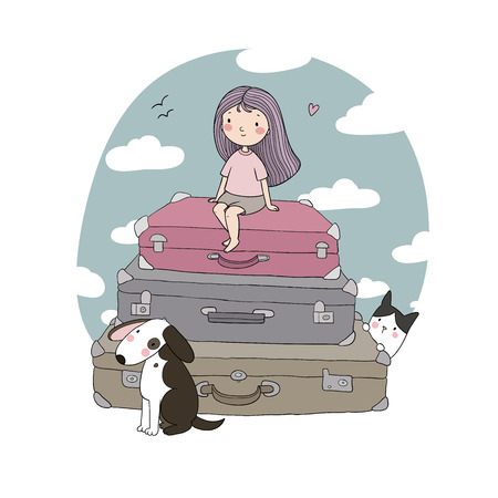 Happy Travel. Cute cartoon girl, dog and suitcases. Bon Voyage Vector illustration Stock Illustratie