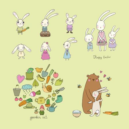 Cute cartoon hares and a bear. Easter bunnies. Funny animals - Vector illustration