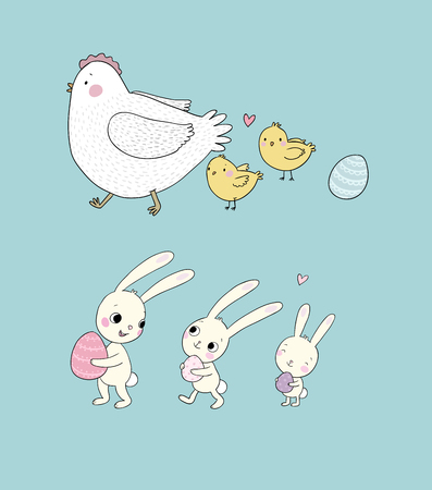 Easter bunnies and chickens, eggs and paint. Cute cartoon hares and birds. Cheerful animals. Spring set - Vector illustration