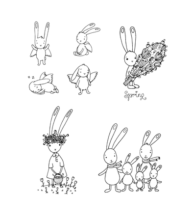 Set with Easter hares. Cute cartoon rabbits. Coloring book - Vector illustration