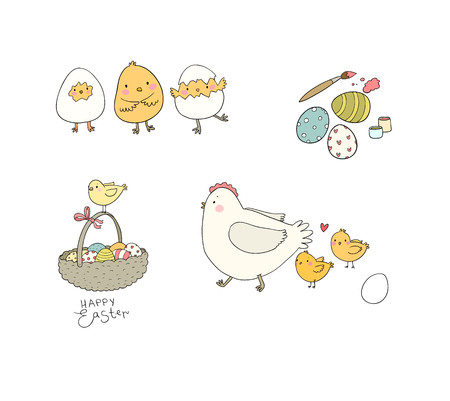 Easter chickens, eggs and paint. Cute cartoon birds. Cheerful animals. Spring set - Vector illustration