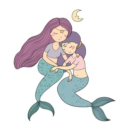 two cute cartoon princess mermaids. Siren. Marine theme. - Vector Vectores
