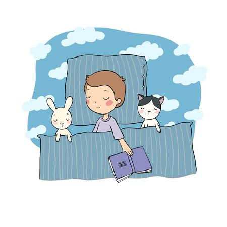 Śpiący chłopiec. Dziecko w łóżku z zabawkami. Czas spać. Dobranoc. Wektor