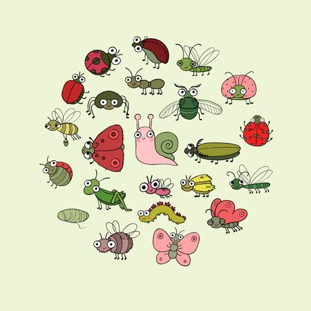 Cute cartoon insects. Funny butterflies, beetles, flies, mosquitoes and snail. Vector 일러스트