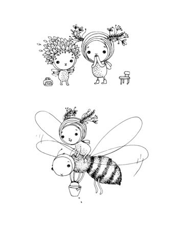 cute cartoon fairies and bee. Hand drawing sketch. children s fairy tales - Vector Illustration