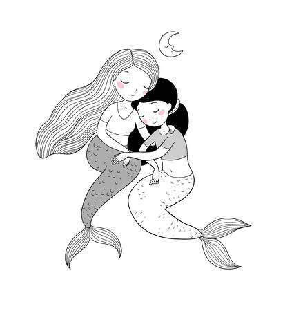 two cute cartoon princess mermaids. Siren. Marine theme. - Vector
