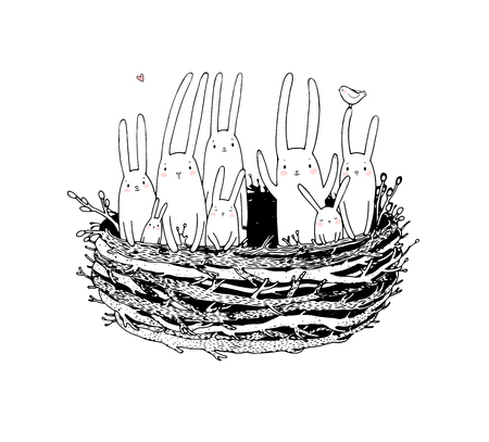 Hand drawing sketch. Cute cartoon bunnies in the nest. Easter bunny. Children s tale - Vector illustration