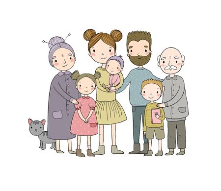 happy family. Parents with children. Cute cartoon dad, mom, daughter, son and baby. grandmother and grandfather. Funny pet cat - Vector Zdjęcie Seryjne
