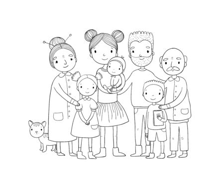 happy family. Parents with children. Cute cartoon dad, mom, daughter, son and baby. grandmother and grandfather. Funny pet cat - Vector Stock fotó