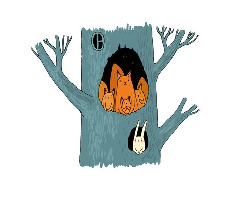 Squirrels in the hollow. Magic Tree. Children s Tale. - Vector
