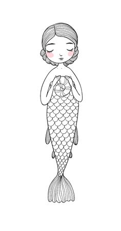 Cute cartoon little mermaid. Siren. Sea theme.