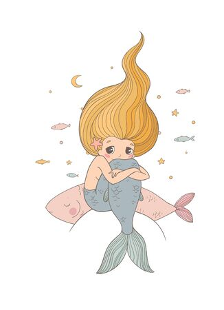 Cute cartoon little mermaid. Siren. Sea theme. Archivio Fotografico - 129830762