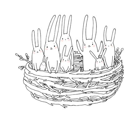 Hand drawing sketch. Cute cartoon bunnies in the nest. Easter bunny. Children s tale - Vector Stok Fotoğraf