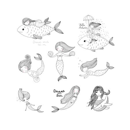 Cute cartoon mermaids. Sirens. Marine theme. Coloring Иллюстрация