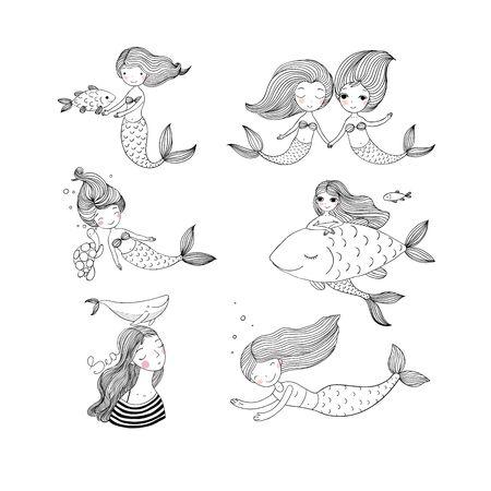 Cute cartoon mermaids. Sirens. Marine theme. Coloring Illustration
