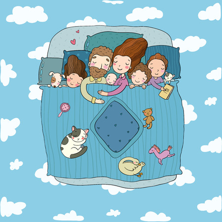 The family sleep in bed. Cartoon mom, dad and babies. Sweet Dreams. Good night. Bed linen. Funny pets. Illustration for pajamas. Happy children. - Vector illustration