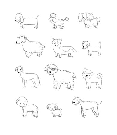 Dogs collection. Cute cartoon puppies of different breeds - Vector