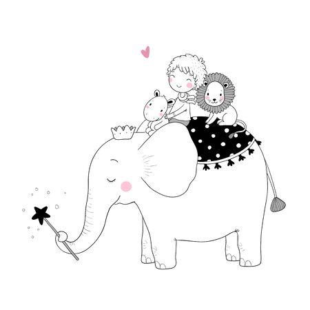 Cute cartoon Little boy and big elephant. Banque d'images - 129830783