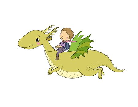 The boy and the dinosaur. The prince flies on a dragon.