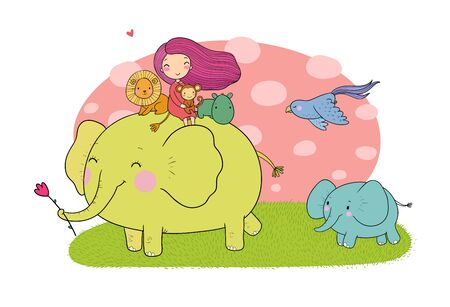 Cute cartoon girl, elephant, monkey and hippo.