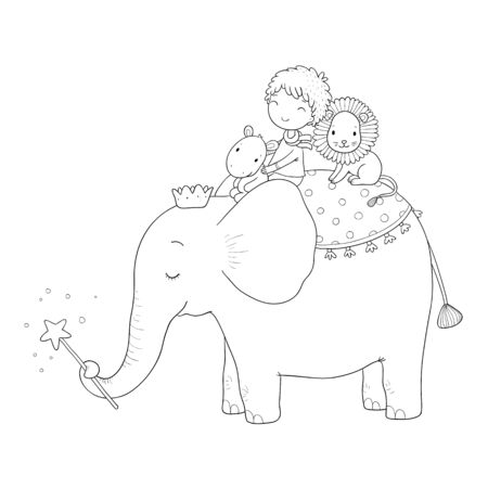 Cute cartoon Little boy and big elephant. Stock fotó - 129830786