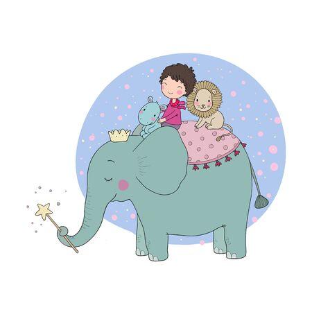 Cute cartoon Little boy and big elephant.