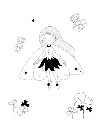 Cute little fairy. Princess and wood elves - Vector