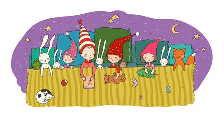 Cute cartoon gnomes sleep in a bed. Funny wood elves. Sleepy kids and toys - Vector