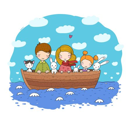 Cute cartoon kids in the boat. A brother, two little sisters, funny hares and a cat. Best friends went on a trip. Vector