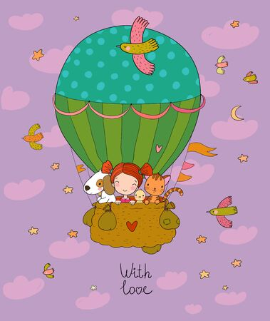 Cute cartoon girl and her friends are flying in a balloon. Little princess, chicken, cat and puppy Illusztráció