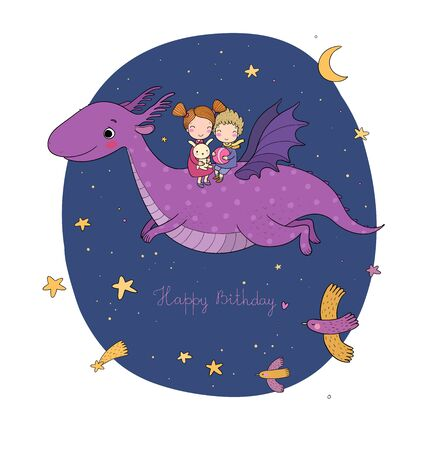 cute little kids are flying a dragon. Cartoon brother, sister and dinosaur.  イラスト・ベクター素材