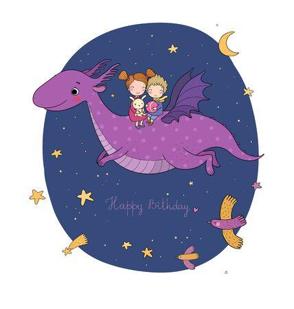 lindos niños pequeños están volando un dragón. Hermano, hermana y dinosaurio de dibujos animados.