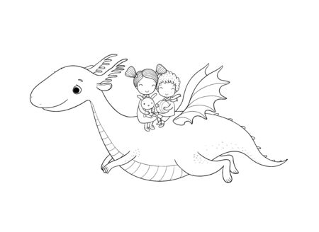 cute little kids are flying a dragon. Cartoon brother, sister and dinosaur. Vector Иллюстрация