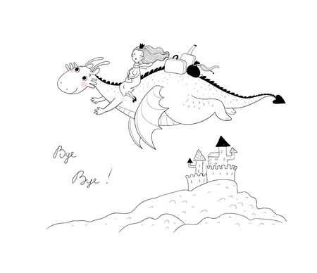 The princess is flying on a dragon. Queen and dinosaur. Ilustracja