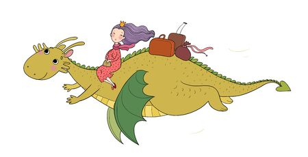 The princess is flying on a dragon. Queen and dinosaur. Stock Illustratie