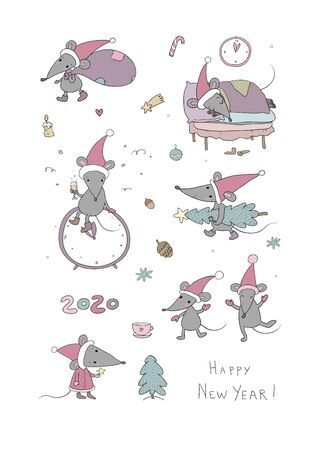Cute cartoon rats. greeting card. Chinese Zodiac Sign Year of Rat. New Year 2020. Animal cartoon character set. Funny mouse and Christmas tree Ilustracja