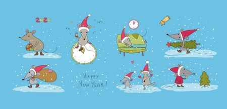 Cute cartoon rats. greeting card. Chinese Zodiac Sign Year of Rat. New Year 2020. Animal cartoon character set. Funny mouse and Christmas tree 矢量图像