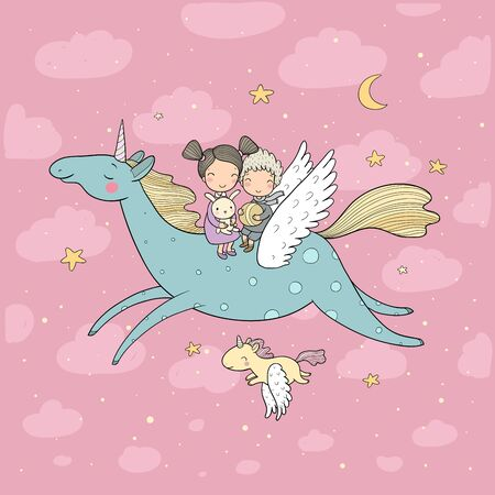 Cute cartoon boy and girl and unicorn. Kids fly on pegasus