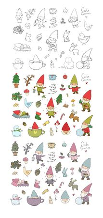 ute cartoon gnomes. New Year s set. Christmas elves. Vector