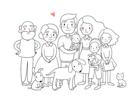 A happy family. Parents with children. Cute cartoon dad, mom, daughter, son and baby. grandmother and grandfather. Funny pet cat and dog