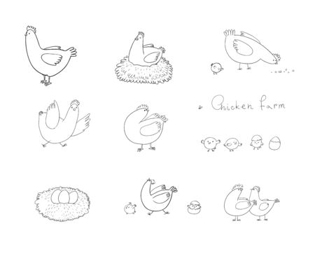 Set with cartoon cute chicken, nest and eggs. Farm animals
