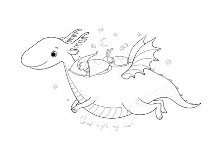 Cute cartoon gnome is flying on a dragon. elf and dinosaur -