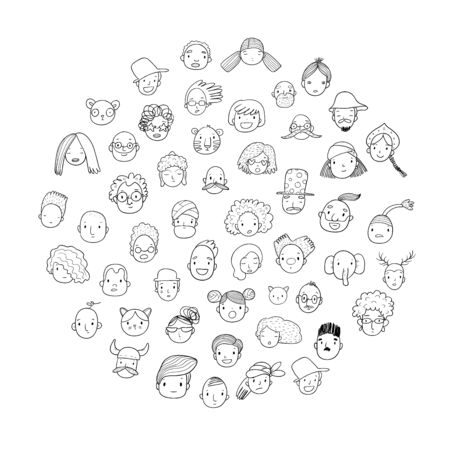 Pattern with graphical faces. Vector illustration. Set of people icons Foto de archivo - 133743559