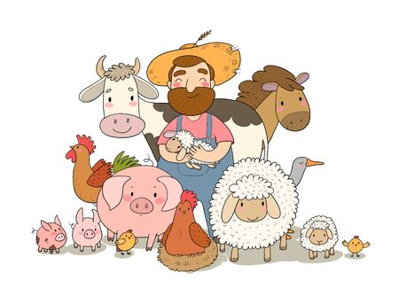 Cute cartoon farmer and animals. Country man and cow, horse and sheep, chicken and goose, pig and rooster. Stock Illustratie