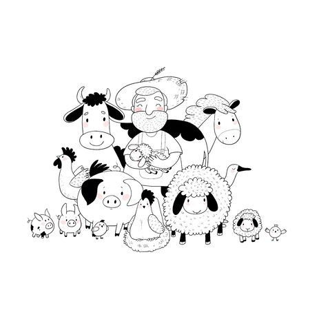 Cute cartoon farmer and animals. Country man and cow, horse and sheep, chicken and goose, pig and rooster. Ilustracja