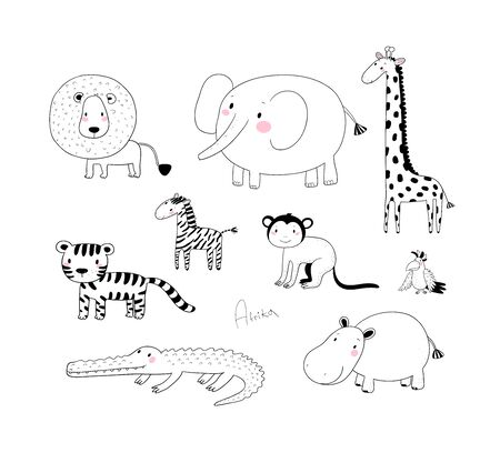 African animals. Cute cartoon lion and tiger, elephant and zebra, monkey and parrot. Fun zoo