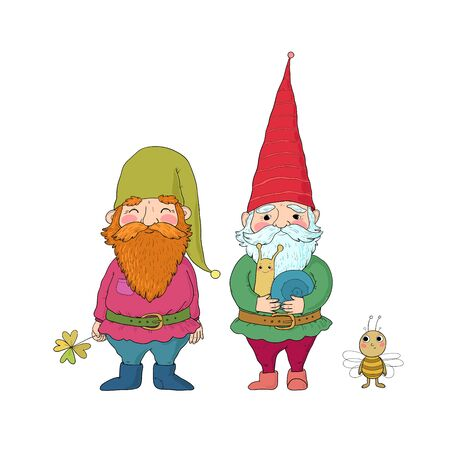 Two old garden gnomes and a bee. Forest elves