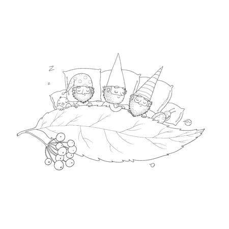 Three gnomes sleep under the leaf. Forest elves