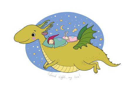 Cute cartoon gnome is flying on a dragon. elf and dinosaur - Archivio Fotografico - 133175851